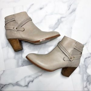 Anthropologie Cream/Tan/Taupe Ankle Booties Heeled